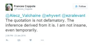 Coppola Insane Complaint